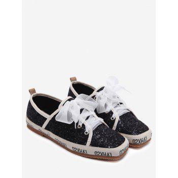 Ribbon Lace Up Sequined Sneakers