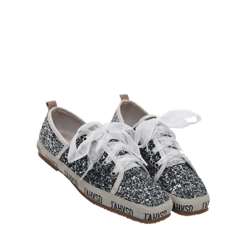 Ribbon Lace Up Sequined Sneakers - GRAY 38