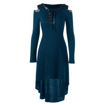 Lace Up Cold Shoulder Hooded Dress