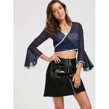 Bell Sleeve Sheer Chiffon Wrap Crop Top - DEEP BLUE S