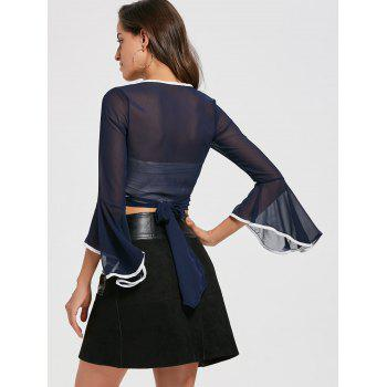 Bell Sleeve Sheer Chiffon Wrap Crop Top - M M