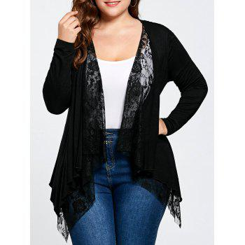 Plus Size Lace Panel Cardigan