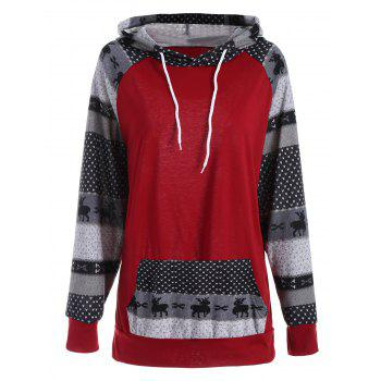 Plus Size Pocket Deer Christmas Raglan Sleeve Hoodie - RED RED