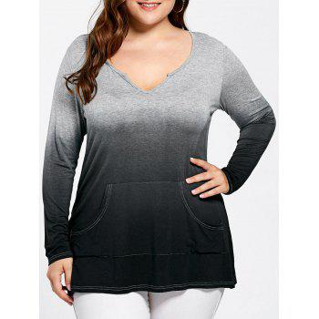 Plus Size Kangaroo Pocket Long Sleeve Ombre T-shirt