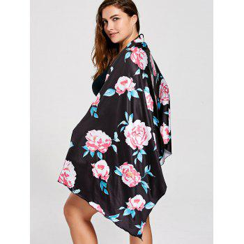 Floral Multifunctional Plus Size Cover Up - Noir XL