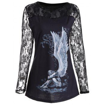 Plus Size Lace Panel Angel Print Top - BLACK 5XL