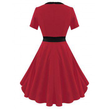 Two Tone Vintage A Line Dress - RED 2XL