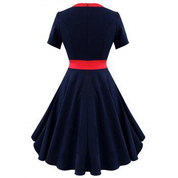 Two Tone Vintage A Line Dress - PURPLISH BLUE S