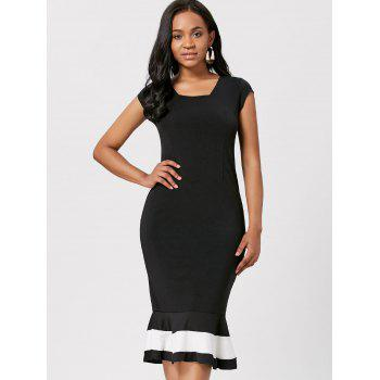 Square Neck Bodycon Fishtail Maxi Dress - BLACK S