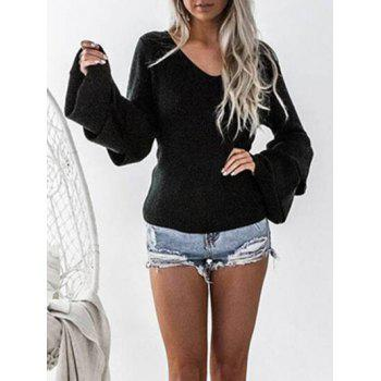 Layered Flare Sleeve Ribbed Sweater