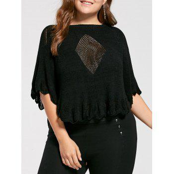 Feather Pattern Plus Size Scalloped Poncho Sweater