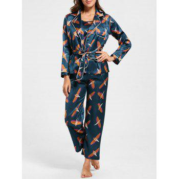 Satin Printed Pajamas Set with Sleeves