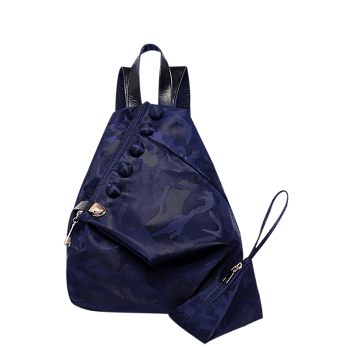 Camouflage Pattern Nylon Backpack - DEEP BLUE