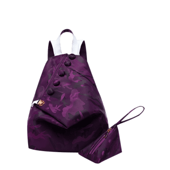 Camouflage Pattern Nylon Backpack - DEEP PURPLE