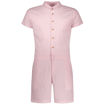 Single Breasted Short Sleeve Romper - PINK XL