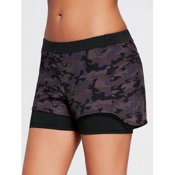 Camo Printed Layered Sports Shorts with Zip Pocket - BLACK S