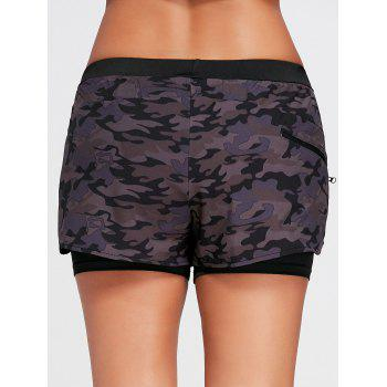 Camo Printed Layered Sports Shorts with Zip Pocket - BLACK BLACK