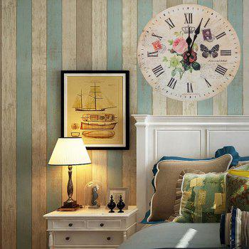 Butterfly Floral Wood Round Analog Wall Clock - WOOD COLOR 50*50CM