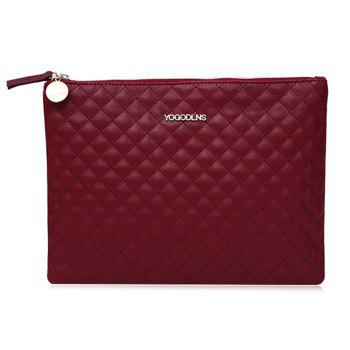 Quilted Faux Leather Clutch Bag - WINE RED WINE RED