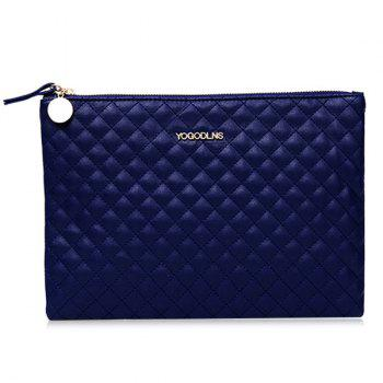Quilted Faux Leather Clutch Bag - BLUE BLUE