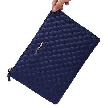 Quilted Faux Leather Clutch Bag -  BLUE