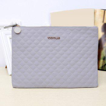 Quilted Faux Leather Clutch Bag -  GREY WHITE