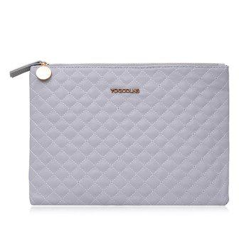 Quilted Faux Leather Clutch Bag - GREY WHITE GREY WHITE