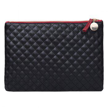 Quilted Faux Leather Clutch Bag - BLACK