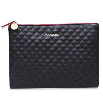 Quilted Faux Leather Clutch Bag - BLACK BLACK
