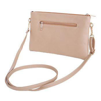 Faux Leather Tassels Crossbody Bag - APRICOT