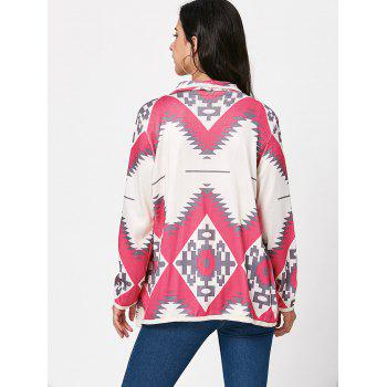 Stylish Long Sleeve Turn-Down Collar Geometric Print Women's Cardigan - LIGHT PINK M
