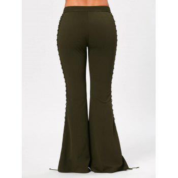 Flare Pants with Criss Cross Lace Up - ARMY GREEN ARMY GREEN