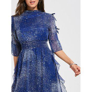Split Flare Sleeve Chiffon Star Dress - BLUE S
