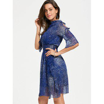 Split Flare Sleeve Chiffon Star Dress - BLUE BLUE