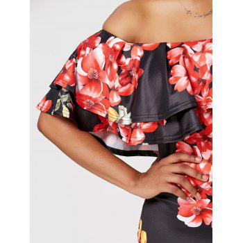 Floral Ruffle Off The Shoulder Bodycon Dress - BLACK M