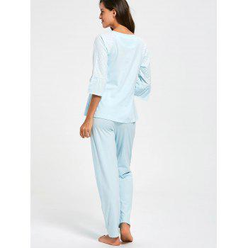 Mesh Insert Cotton Nursing Pajamas Set - CLOUDY CLOUDY