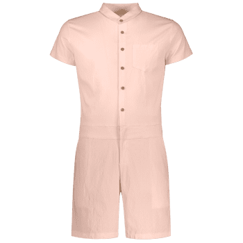 Single Breasted Short Sleeve Romper - APRICOT 2XL