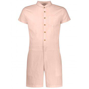 Single Breasted Short Sleeve Romper - APRICOT APRICOT