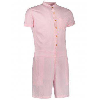 Single Breasted Short Sleeve Romper - PINK PINK