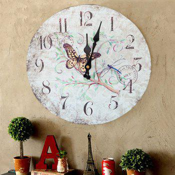Butterfly Floral Wood Round Analog Wall Clock - WHITE 50*50CM