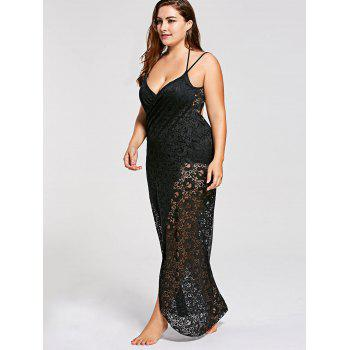 Plus Size Lace Cover Up Wrap Dress - BLACK XL