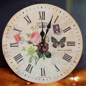 Butterfly Floral Wood Round Analog Wall Clock - WOOD COLOR WOOD COLOR