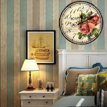 Butterfly Floral Wood Round Analog Wall Clock - YELLOW 30*30CM