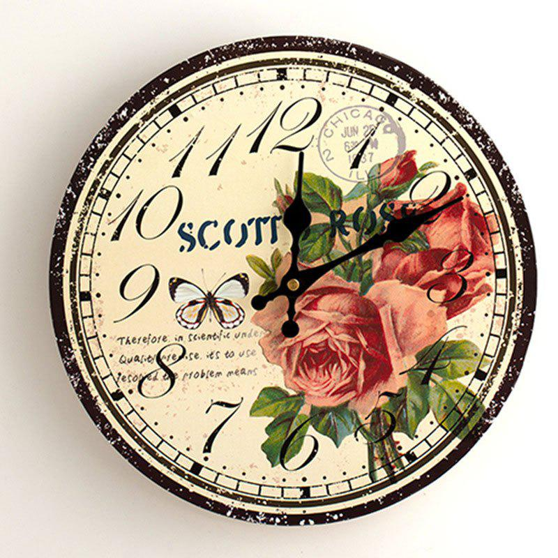 Butterfly Floral Wood Round Analog Wall Clock - YELLOW 50*50CM