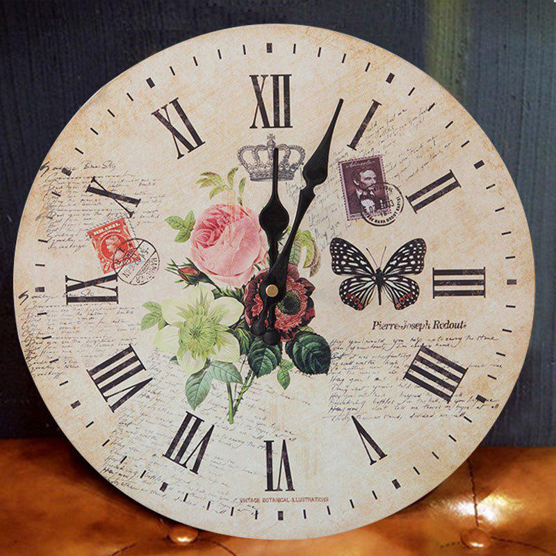 Butterfly Floral Wood Round Analog Wall Clock - WOOD COLOR 30*30CM