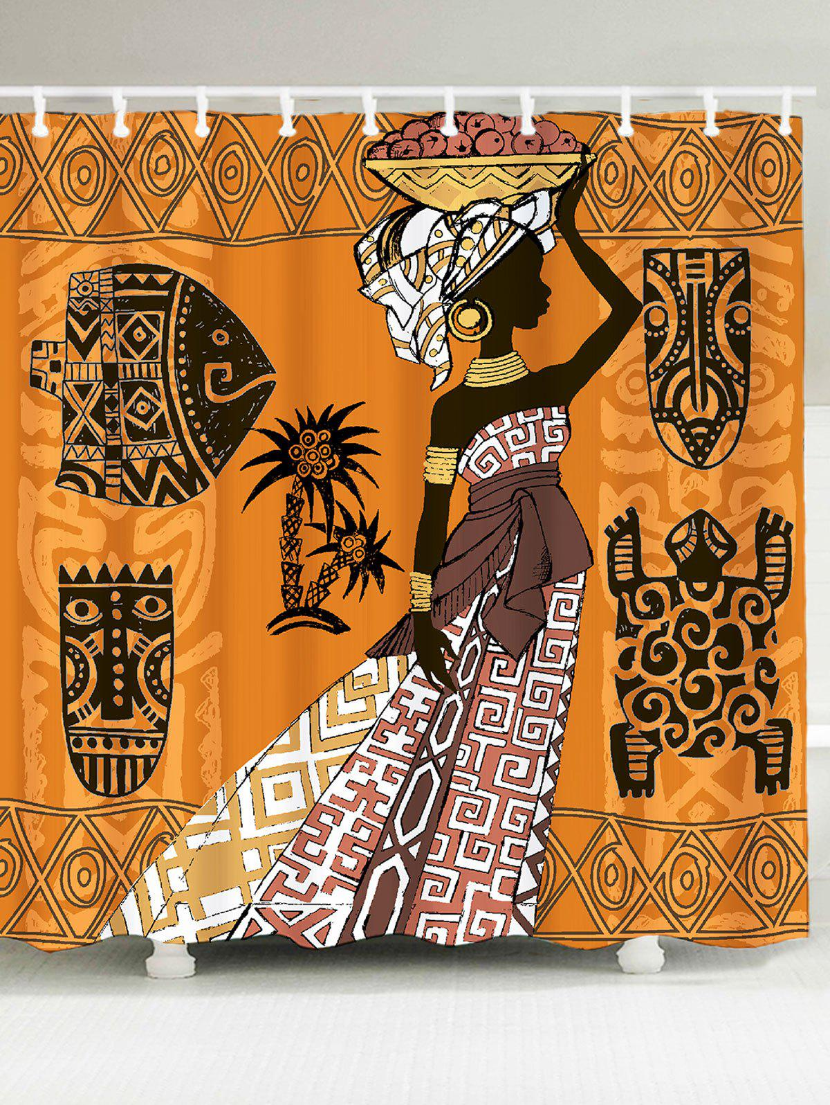 Waterproof African Tribal Graphic Pattern Shower Curtain