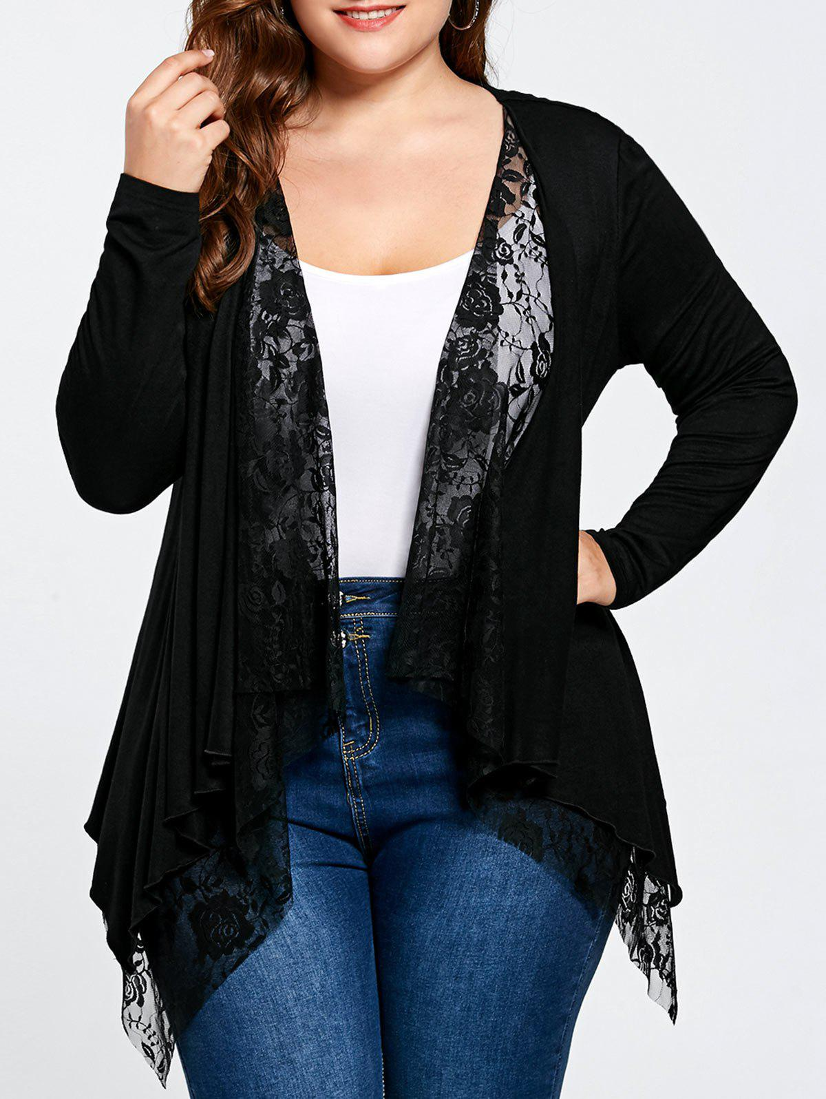 2018 Plus Size Lace Panel Cardigan BLACK XL In Plus Size Sweaters ...