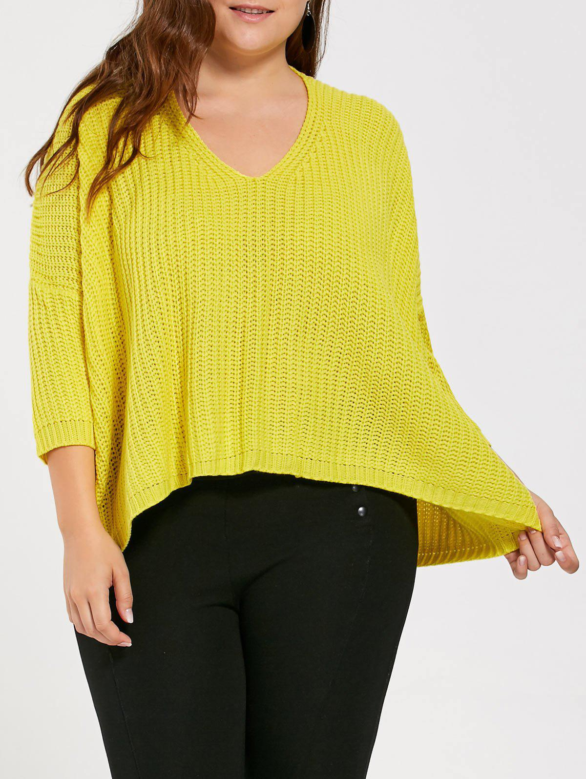 2017 Plus Suze Long High Low Chunky Knit Sweater YELLOW ONE SIZE ...