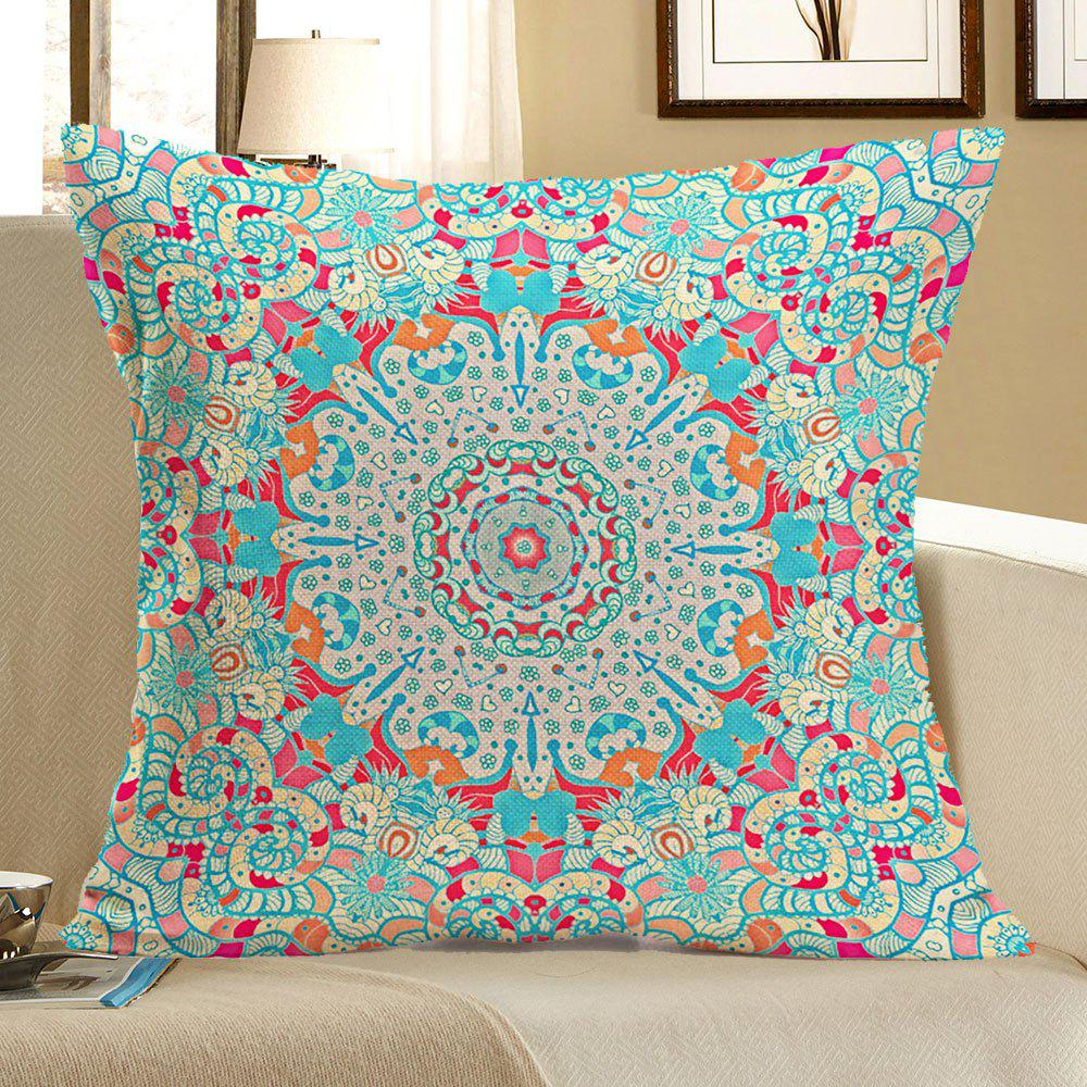 Ethnic Geometry Printed Linen Square Pillow Case handpainted birds and leaf branch printed pillow case