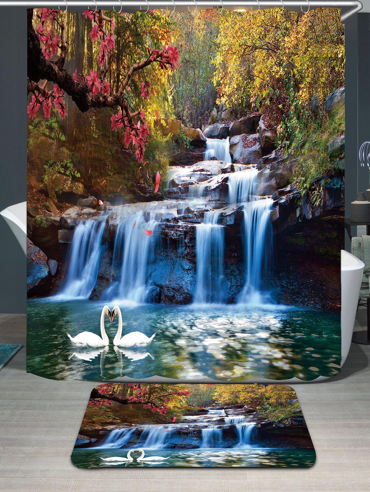 Swans Flowers Cascade Waterproof Shower Curtain Carpet Set waterproof swans cascade trees wall tapestry